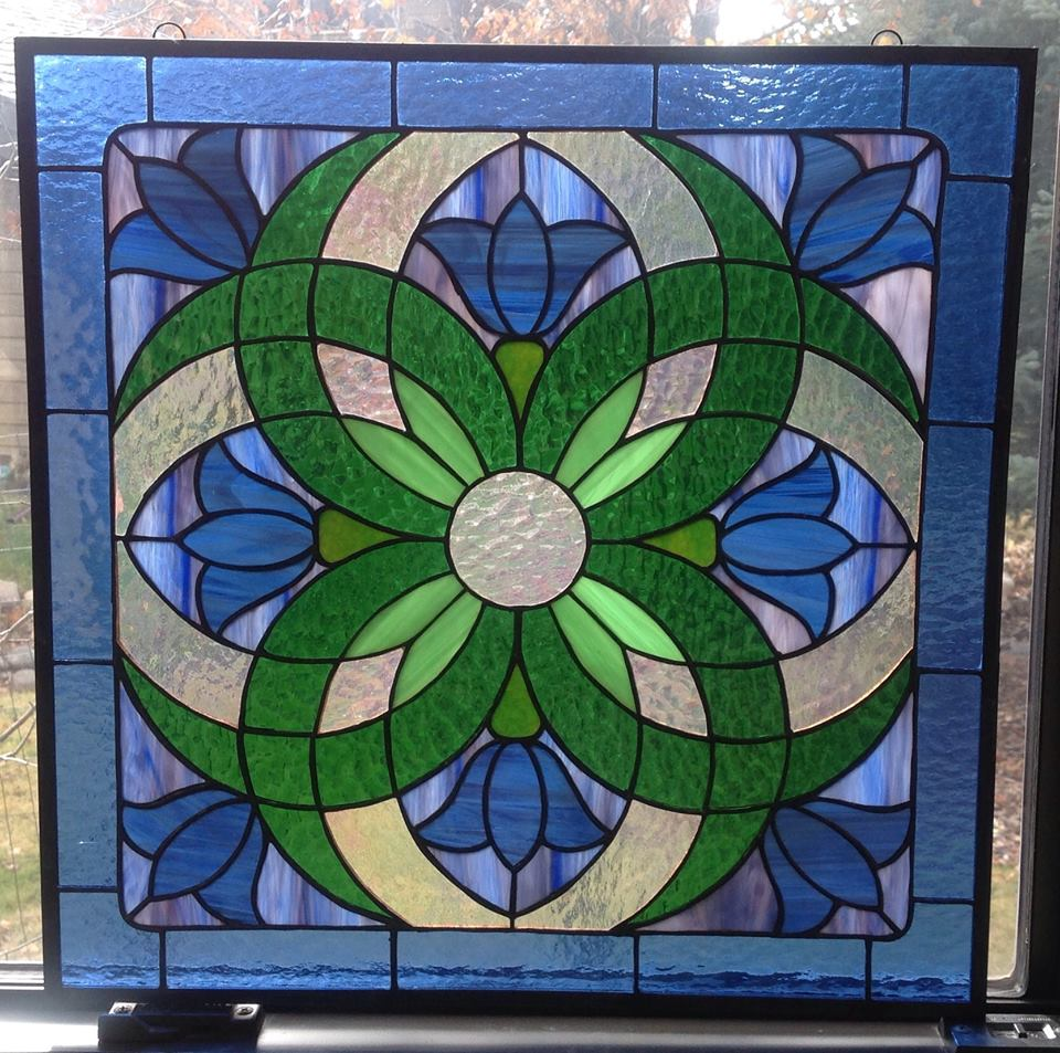 geometric stained glass flower